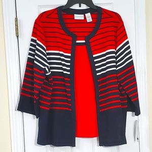 Alfred Dunner Striped Cardigan/Tank Set - XL - NEW